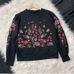 ANTHROPOLOGIE drew floral embroidered sweatshirt